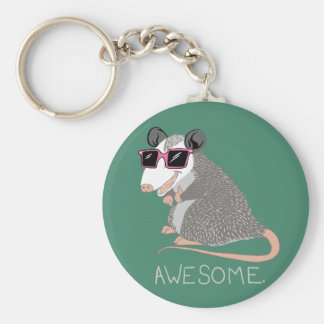 Funny Awesome Possum Basic Round Button Key Ring