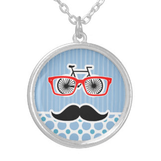 Funny Baby Blue Mustache Hipster Necklaces