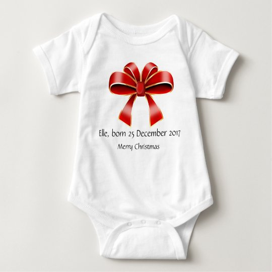 Funny baby born Christmas bodysuit red bow
