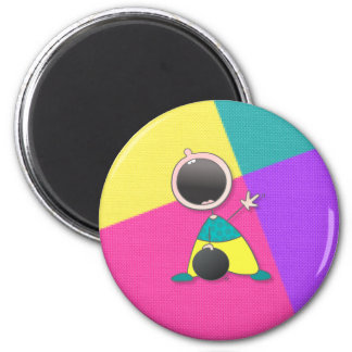 Funny Baby Bowler 6 Cm Round Magnet
