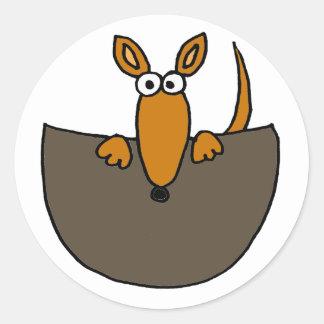 Funny Baby Kangaroo in Pouch Cartoon Round Sticker