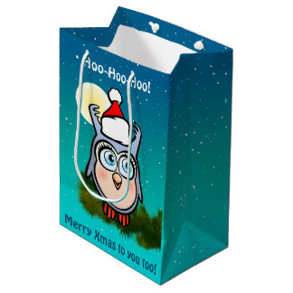 Funny Baby Owl With Christmas Hat Medium Gift Bag