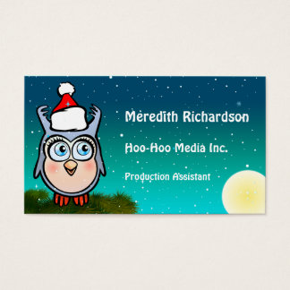 Funny Baby Owl With Cute Santa Hat Business Card