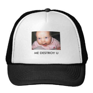 funny-baby-picture-angry-baby, ME DESTROY U Cap