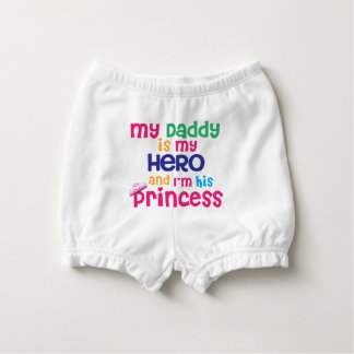 Funny baby quote Hero daddy and princess daughter Nappy Cover