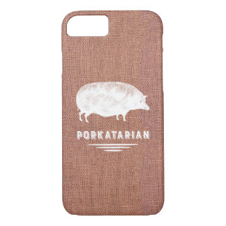 Funny Bacon Lover's Pig Porkatarian Rustic Vintage iPhone 8/7 Case