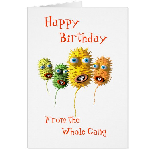Funny Bacteria birthday card