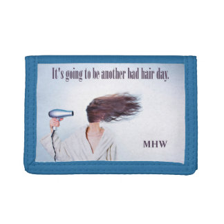 Funny Bad Hair Day custom monogram wallets