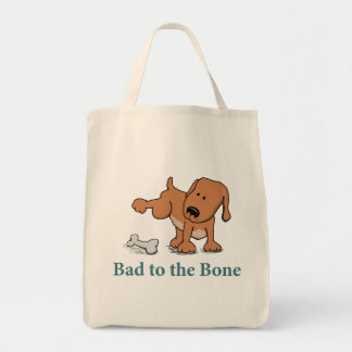 Funny Bad to the Bone Dog Tote Bag
