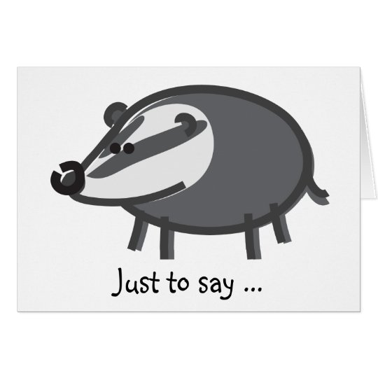Funny Badger on White Card