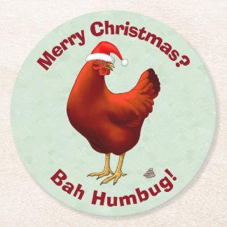 Funny Bah Humbug Chicken in Santa Hat Poops xmas Round Paper Coaster