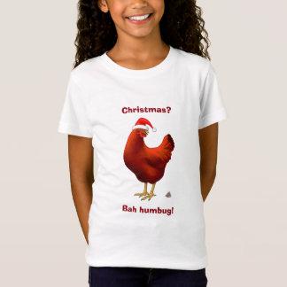 Funny Bah Humbug Chicken in Santa Hat Poops xmas T-Shirt
