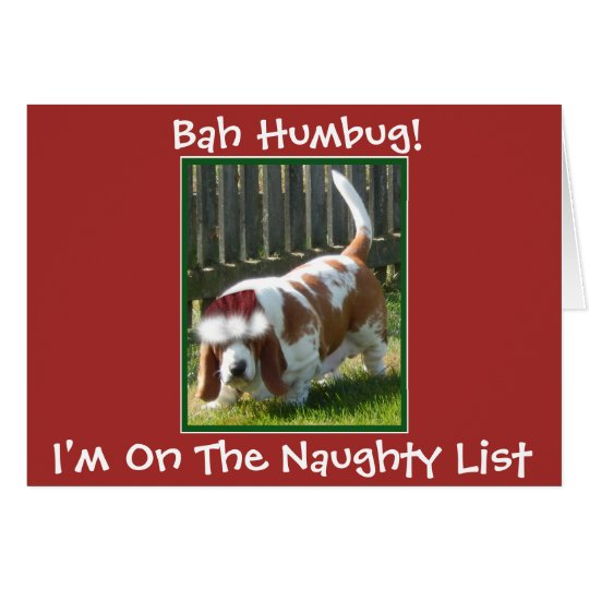 "Funny ""Bah Humbug"" Christmas Card w/Basset Hound"