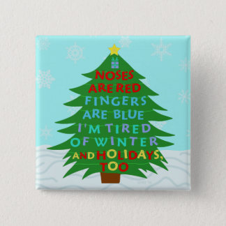 Funny Bah Humbug Christmas Poem 15 Cm Square Badge