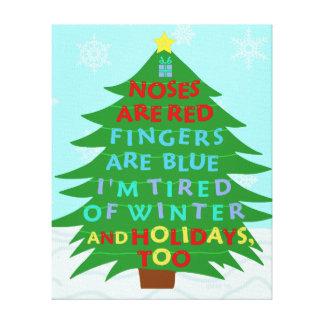 Funny Bah Humbug Christmas Poem Gallery Wrap Canvas