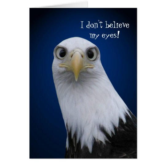 Funny Bald Eagle with Big Eyes Card