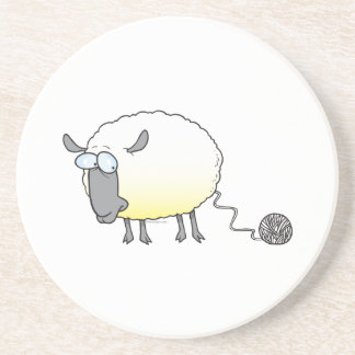 funny ball of yarn cloned sheep cartoon coaster