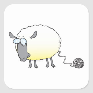 funny ball of yarn cloned sheep cartoon square sticker