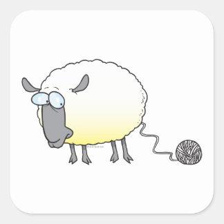 funny ball of yarn cloned sheep cartoon square sticker