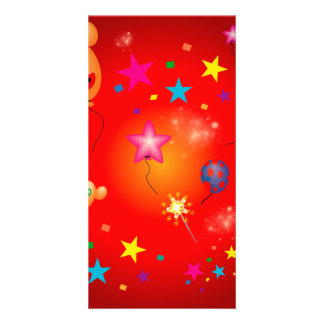 Funny balloons and stars photo cards