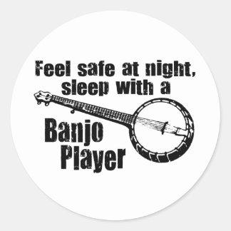 Funny Banjo Classic Round Sticker