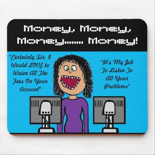 Funny Bank Clerk Cartoon Mouse Mat