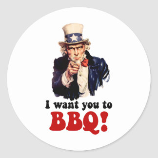Funny barbecue classic round sticker