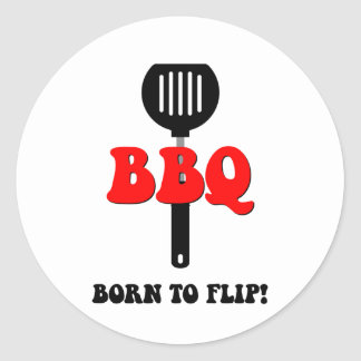 Funny barbecue round sticker