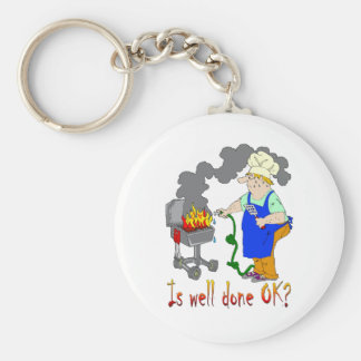 Funny Barbeque Design - Is Well Done OK? Keychains