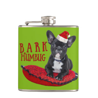 Funny BARK Humbug French Bulldog Green Flask