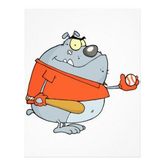 funny baseball bulldog cartoon character personalized flyer