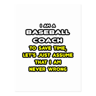Funny Baseball Coach T-Shirts and Gifts Postcards