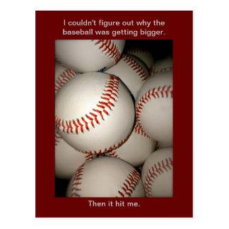Funny Baseball Postcard, Puns, Postcrossing sports Postcard
