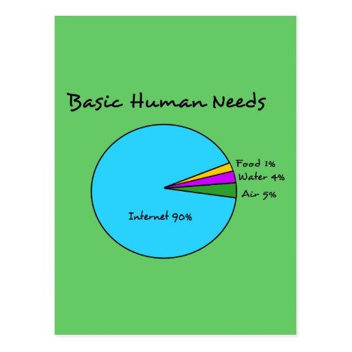 Funny Basic Human Needs (90% Internet) Postcard