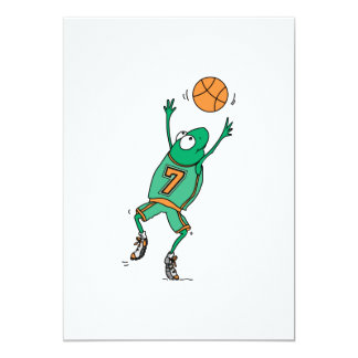 funny baskeball froggy personalized invites