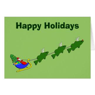 Funny Bass Fishing Christmas Greeting Card