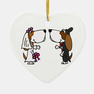 Funny Basset Hound Bride and Groom Wedding Art Ceramic Heart Decoration
