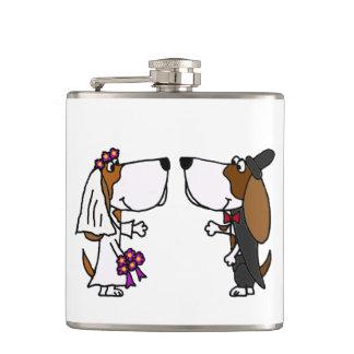 Funny Basset Hound Bride and Groom Wedding Hip Flask