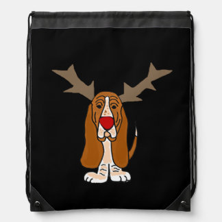 Funny Basset Hound Christmas Reindeer Backpack