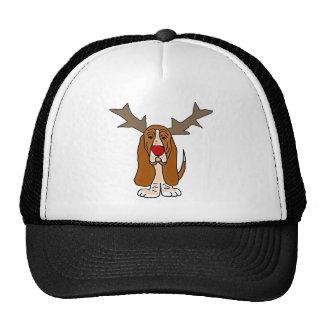 Funny Basset Hound Christmas Reindeer Cap