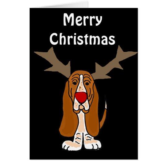 Funny Basset Hound Christmas Reindeer Card