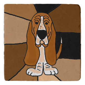 Funny Basset Hound Dog Art Abstract Stone Trivet