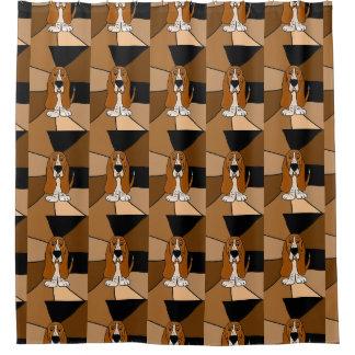 Funny Basset Hound Dog Art Shower Curtain