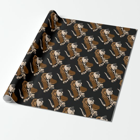 Funny Basset Hound Dog Art Wrapping Paper