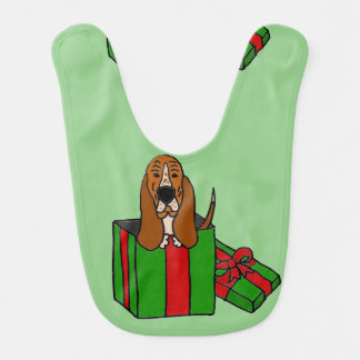 Funny Basset Hound Dog in Christmas Package Bib