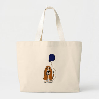 Funny Basset Hound Holding Blue balloon Canvas Bags