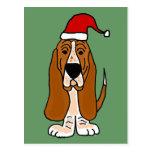 Funny Basset Hound in Santa Hat Christmas Art