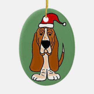 Funny Basset Hound in Santa Hat Christmas Art Christmas Ornament