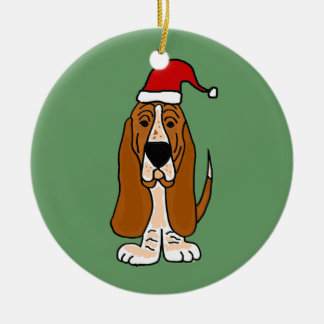 Funny Basset Hound in Santa Hat Christmas Art Round Ceramic Decoration