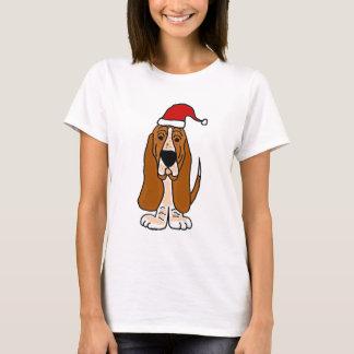 Funny Basset Hound in Santa Hat Christmas Art T-Shirt